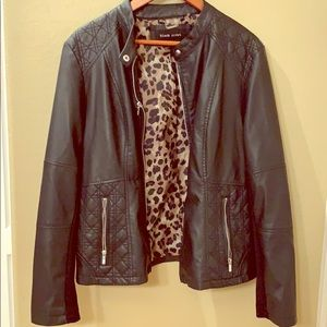 Black leather jacket with cheetah lining